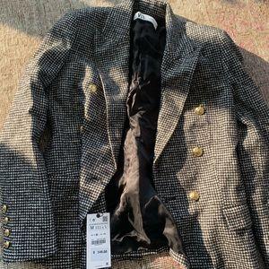NWT Zara Houndstooth Blazer w/ Gold Buttons